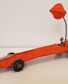 Locomobile de verre orange